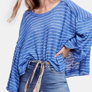 NEW NWT Free People Hacci Striped Top Blue